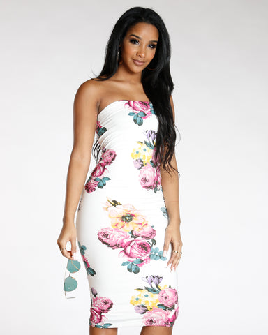 Alleen Ivory Floral Tube Dress
