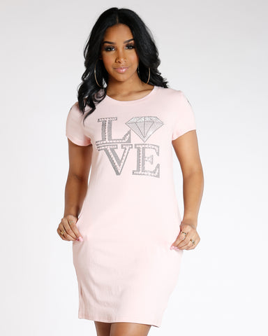 Pink Love Pearls Long Dress