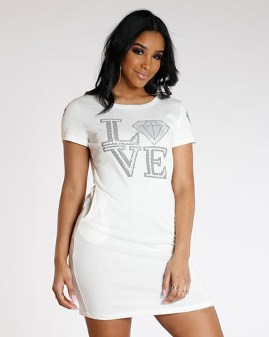 White Love Pearls Long Dress