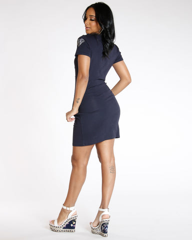 Navy Love Pearls Long Dress