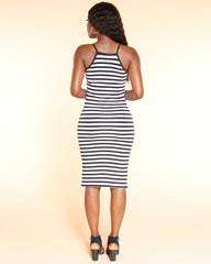 VIM VIXEN Juliet Striped Side Split Tank Dress  - Black - ShopVimVixen.com