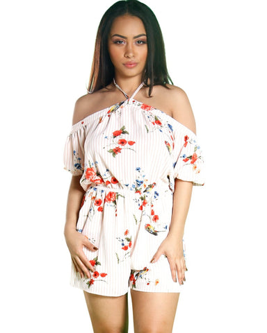 SAVANNAH STRIPE FLORAL ROMPER (AVAILABLE IN 2 COLORS)