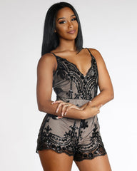 Black Sequin Romper
