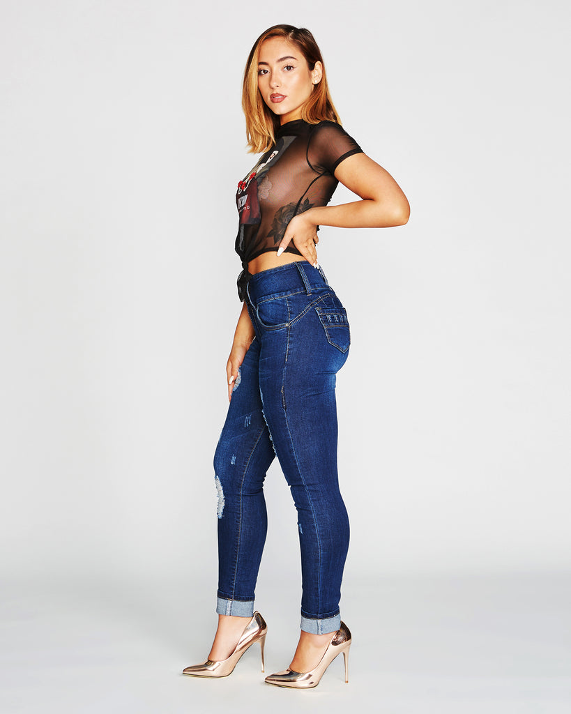 VIM VIXEN Girl Face Mesh Front Tie Crop Top - Black - ShopVimVixen.com