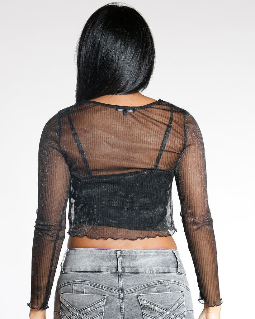 VIM VIXEN Long Sleeve Lurex Top - Black - ShopVimVixen.com