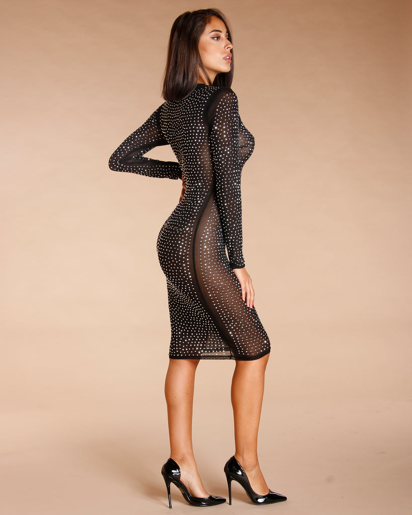 STUDDED MESH DRESS - BLACK