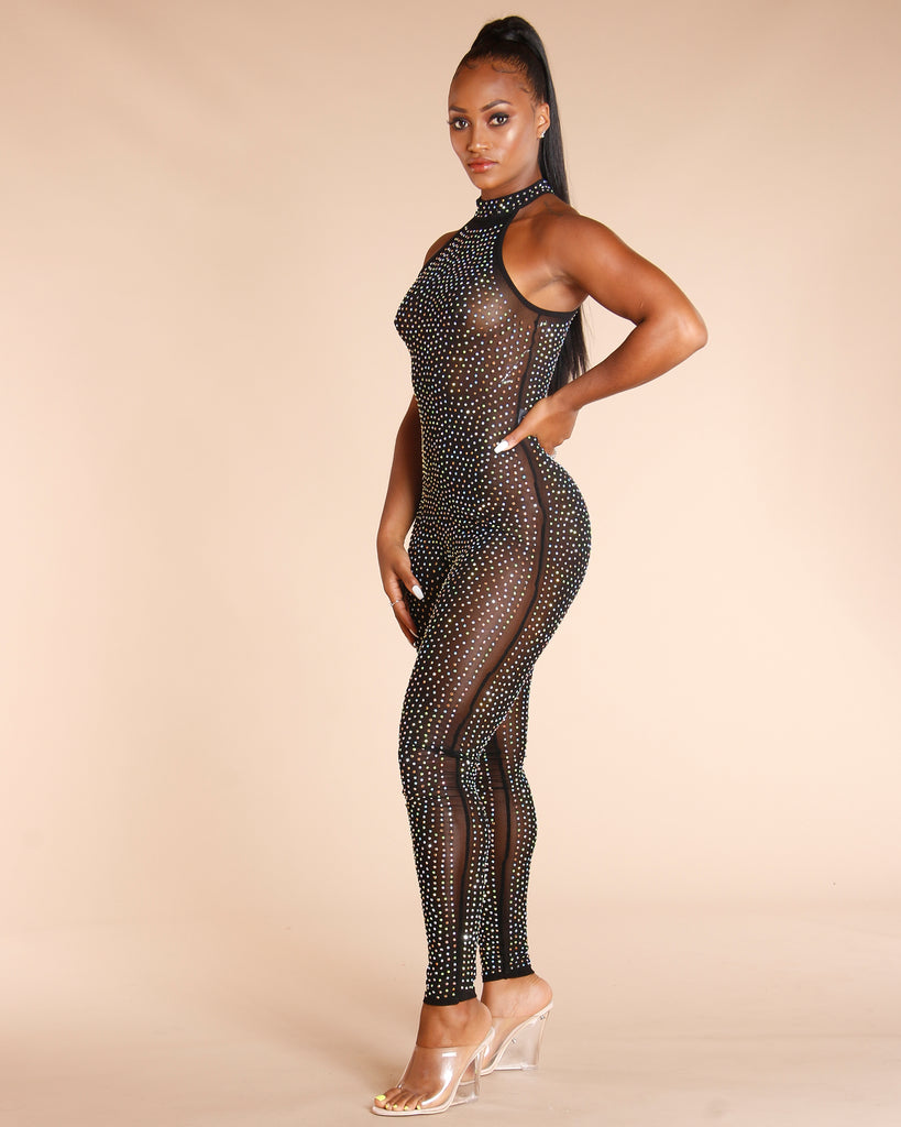 Rhinstone Sheer Jumpsuit