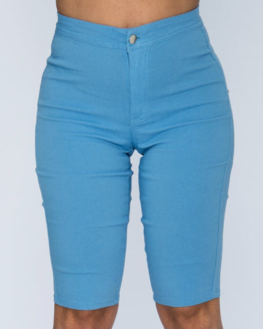 AMY HIGH WAIST SHORTS - BLUE