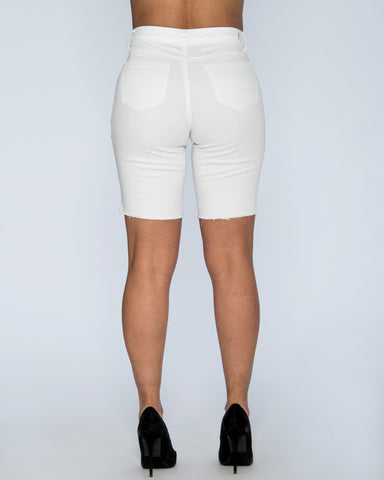 Lyla High Waist Shorts - White