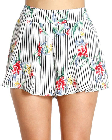 FLORAL DRIP STRIPE SHORTS (AVAILABLE IN 2 COLORS)