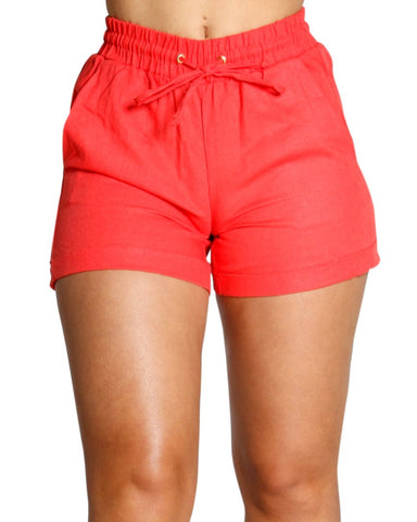 LINEN FRONT TIE BOOTY SHORTS (AVAILABLE IN 6 COLORS)