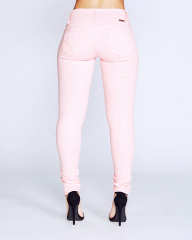 Four Button Columbian Jeans - Coral