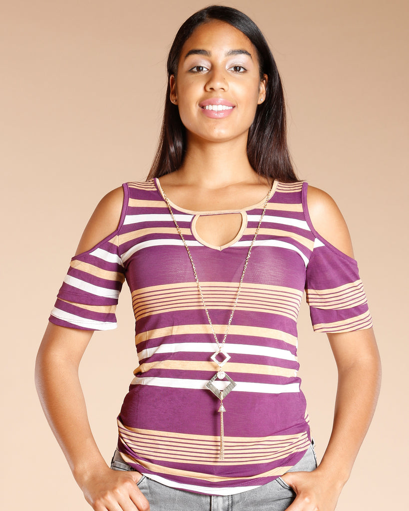 Cold Shoulder Stripe Top (Available In 4 Colors)