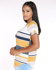 VIM VIXEN Striped Built In Chain Top - Mustard - ShopVimVixen.com
