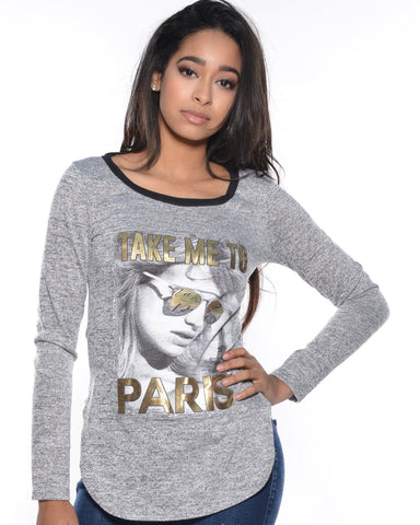 Long Sleeves Take Me To Paris Gold Foil Top