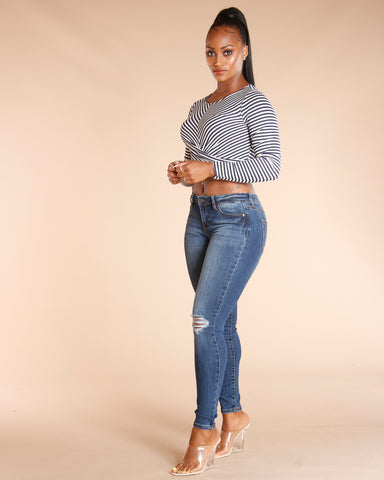 Striped Long Sleeve Twist Front Top