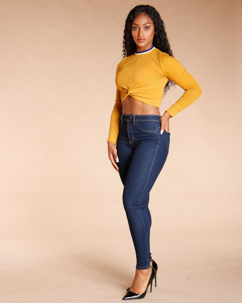 LONG SLEEVE TAPING TWIST FRONT TOP (AVAILABLE IN 3 COLORS)
