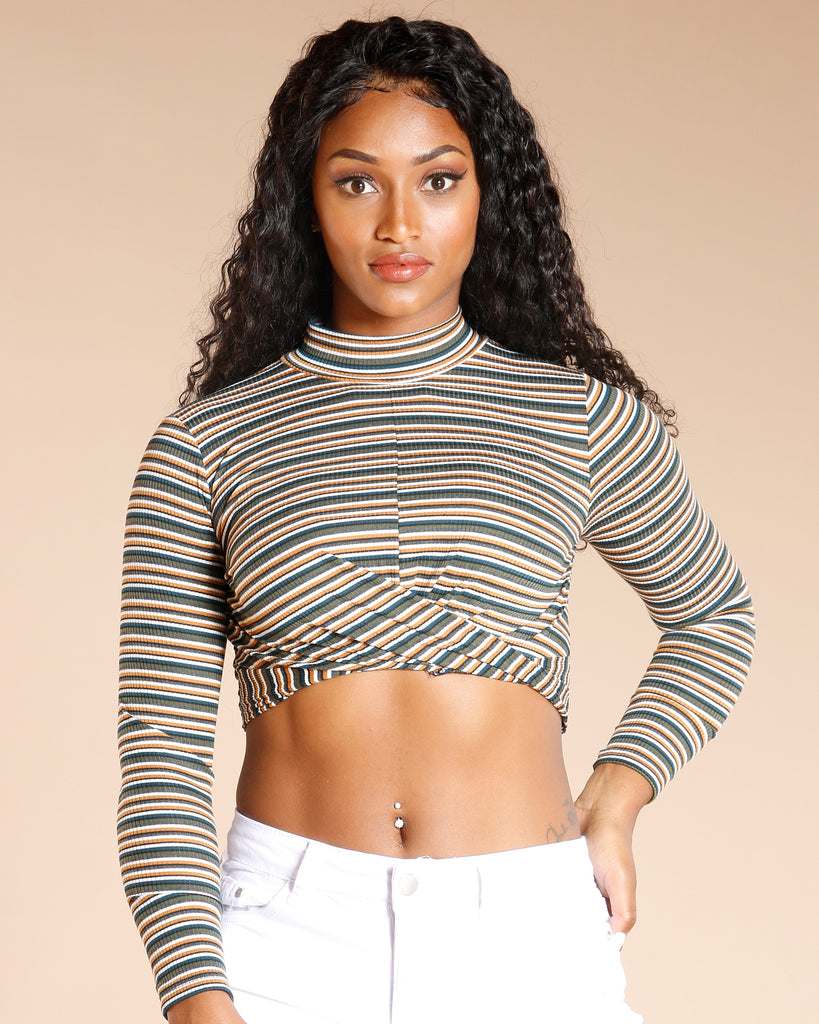 Stripe Front Twist Long Sleeve Top (Available In 2 Colors)