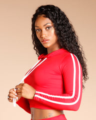 TWO SIDE STRIPE LONG SLEEVE TEE - RED