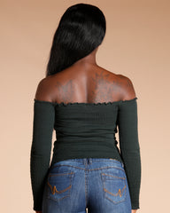 Front Lace Up Off The Shoulder Top (Available In 4 Colors)