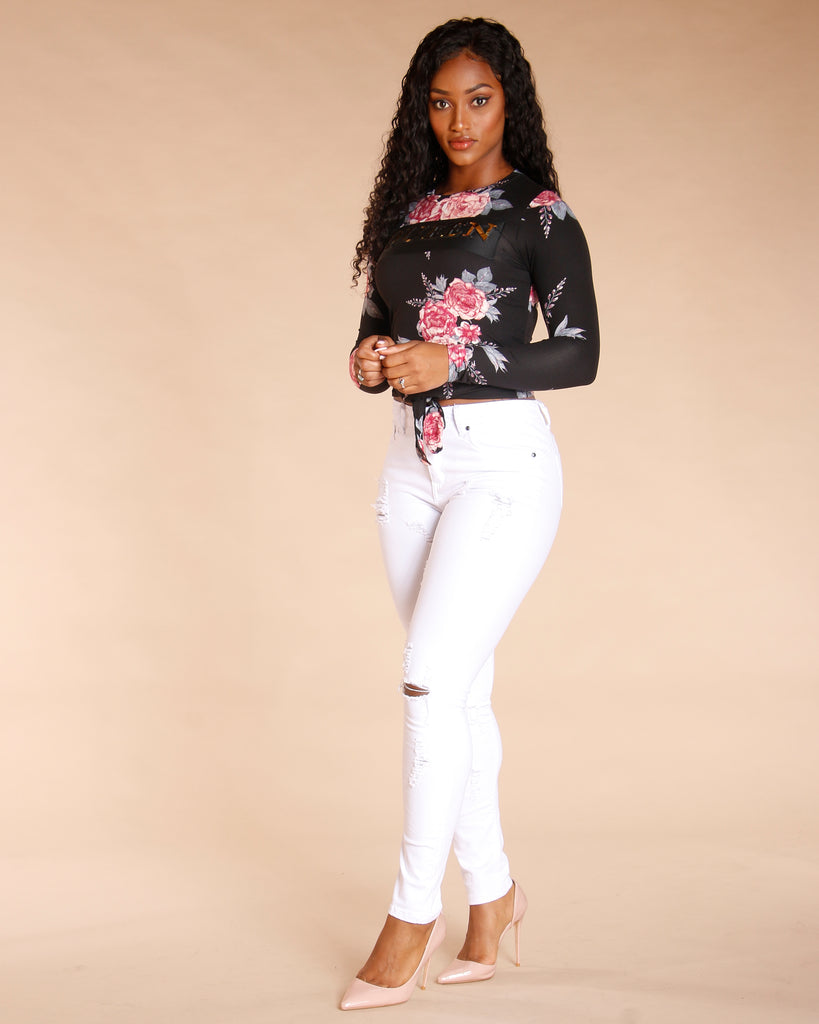 Floral Queen Embossed Top (Available In 2 Colors)