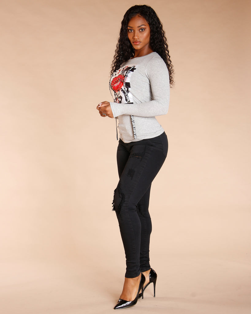 Long Sleeve Pearl Kiss Top (Available In 2 Colors)