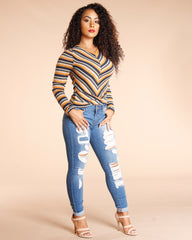 Metered Striped Long Sleeve Top