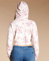 FLORAL CROP HOODIE (AVAILABLE IN 2 COLORS)