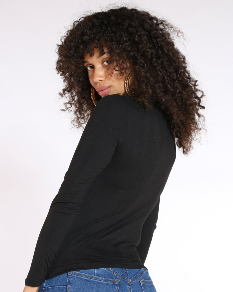 VIM VIXEN Heel Rhinestone Long Sleeve Top - Black - ShopVimVixen.com