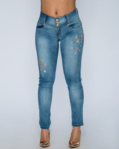 Three Button Floral Jeans