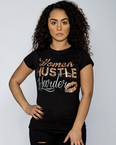 WOMEN HUSTLE HARD LIPS TEE (Available in 2 colors)