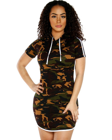 Army Wife Camo Print Hoodie Dress With Side Stripe