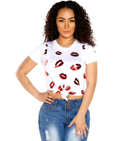 HELEN FOIL LIPS TOP (AVAILABLE IN 3 COLORS)