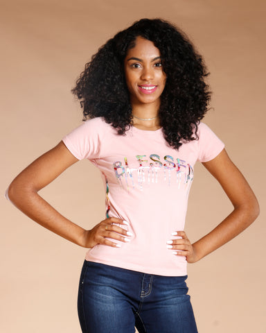 Blessed Rainbow Sequins Tee - Dusty Rose