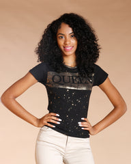 QUEEN GOLD FOIL TEE - BLACK