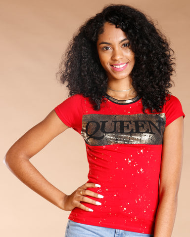 Queen Gold Foil Tee - Red