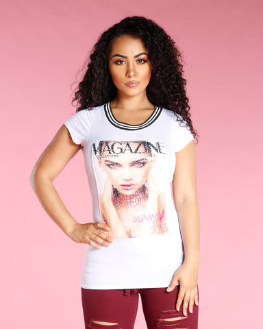 SEQUIN MAGAZINE GIRL TEE (AVAILABLE IN 2 COLORS)