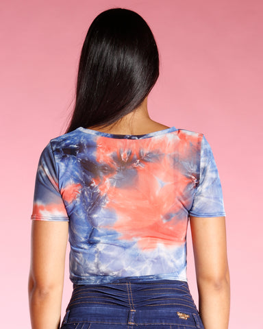 Tye Dye Front Tie Top - Orange