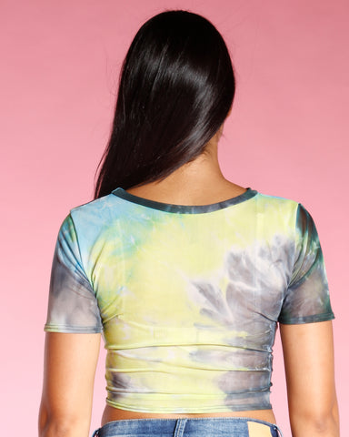 Tye Dye Front Tie Top - Yellow