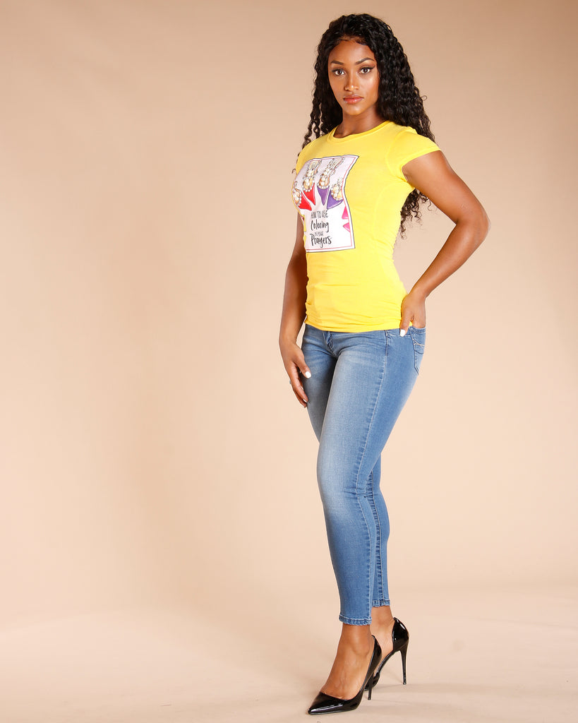 Pearl Patch Shoe Tee - Yellow