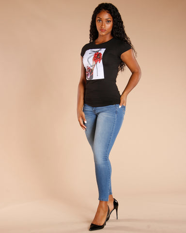 Fashion Heel Tee - Black