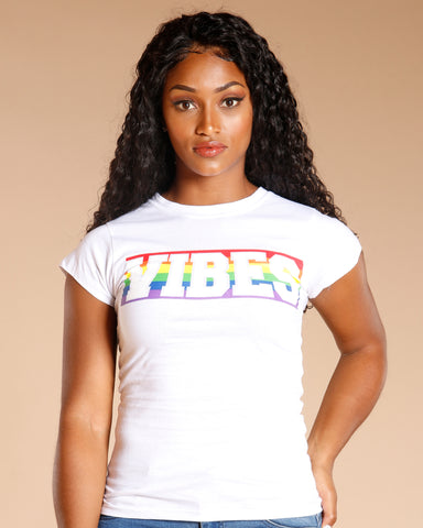 Vibes Multicolor Stripe Tee (Available In 2 Colors)