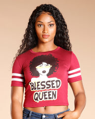 BLESSED QUEEN AFRO GIRL TEE  (AVAILABLE IN 2 COLORS)