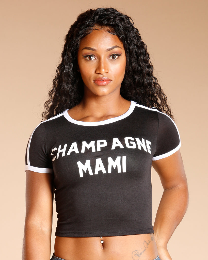 Champagne Mami Stripe Tee (Available In 2 Colors)