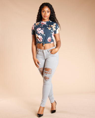 FLORAL FRONT TIE TOP - HUNTER GREEN