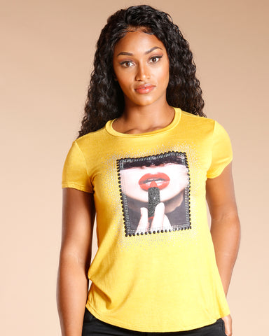 Lipstick Lips Rhinestone Tee (Available In 2 Colors)