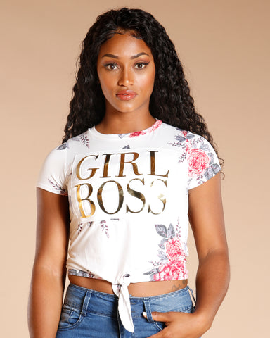 Floral Girl Boss Tee (Available In 2 Colors)
