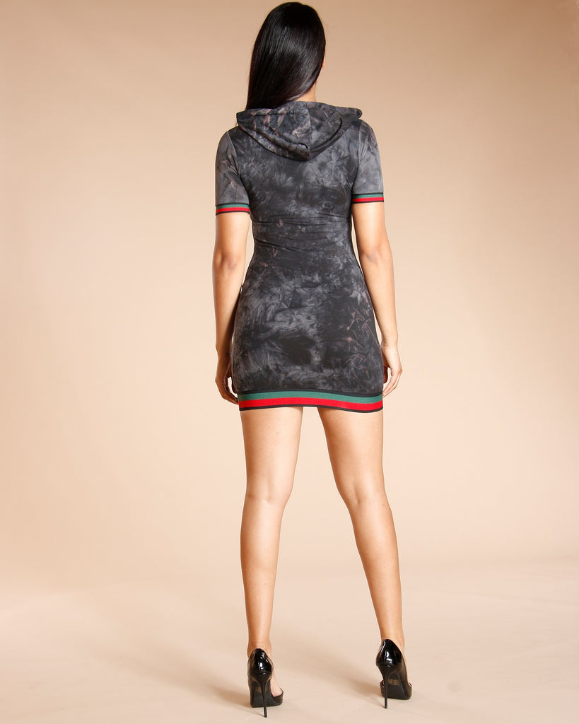 Super Taping Hoodie Tunic - Charcoal