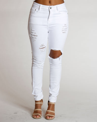 Hip Hop High Waist Ripped Jeans