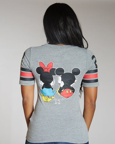 Front And Back Mickey And Minnie Print Tee
